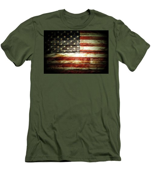 Men's T-Shirt (Slim Fit) featuring the photograph American Flag by Les Cunliffe