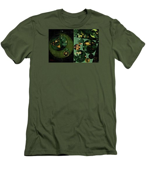 Men's T-Shirt (Slim Fit) featuring the digital art Abstract Painting - Smoky Black by Vitaliy Gladkiy
