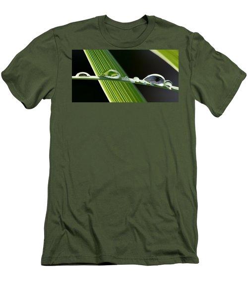 Big Rain Drops On Leaf Men's T-Shirt (Slim Fit) by Werner Lehmann
