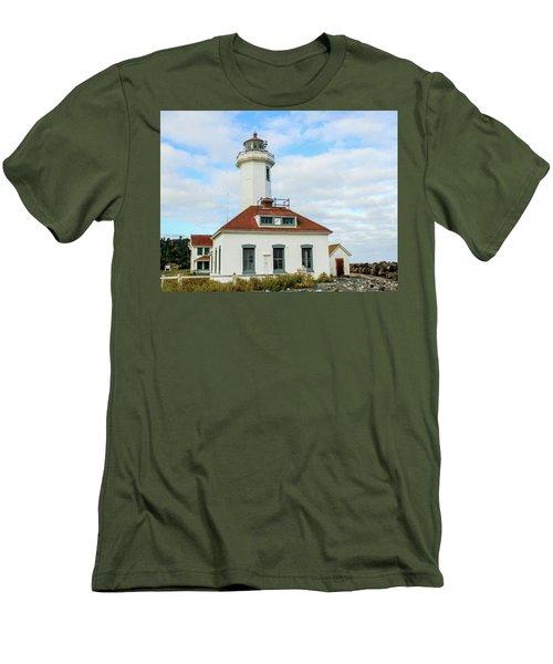 Men's T-Shirt (Slim Fit) featuring the photograph Point Wilson Lighthouse by E Faithe Lester