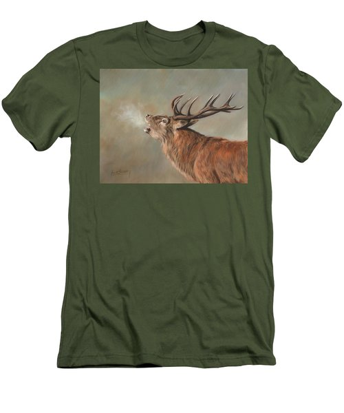 Men's T-Shirt (Slim Fit) featuring the painting Red Deer Stag by David Stribbling