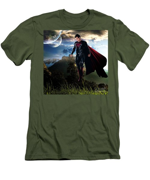Men's T-Shirt (Slim Fit) featuring the mixed media Superman by Marvin Blaine