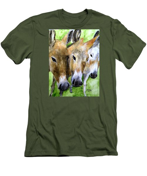3 Wise Mules Men's T-Shirt (Slim Fit) by Carol Grimes
