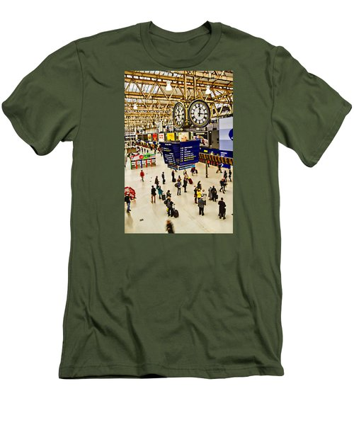 London Waterloo Station Men's T-Shirt (Slim Fit) by David French