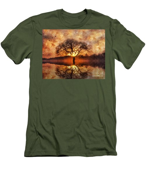 Men's T-Shirt (Slim Fit) featuring the digital art Lone Tree by Ian Mitchell