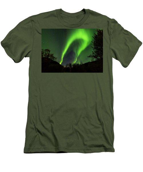 Northern Lights, Aurora Borealis At Kantishna Lodge In Denali National Park Men's T-Shirt (Slim Fit) by Brenda Jacobs