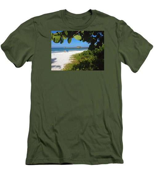 Men's T-Shirt (Slim Fit) featuring the photograph The Historic Naples Pier by Robb Stan