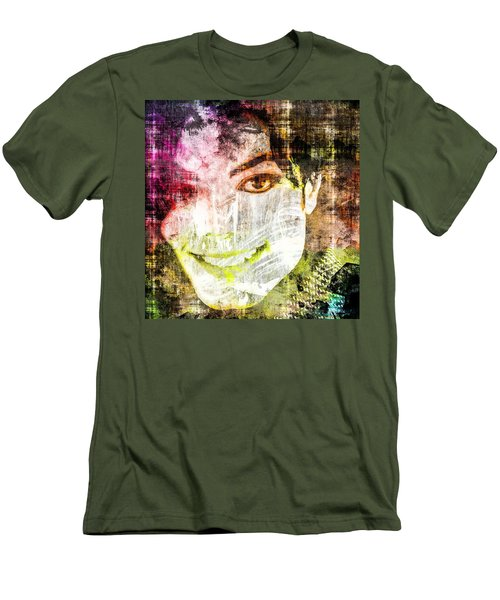 Men's T-Shirt (Slim Fit) featuring the mixed media Michael Jackson by Svelby Art