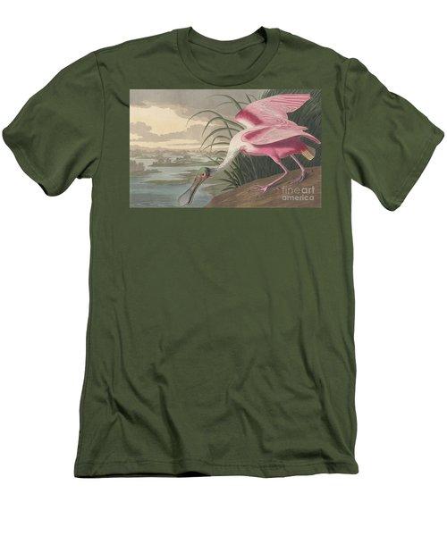 Roseate Spoonbill Men's T-Shirt (Slim Fit) by John James Audubon