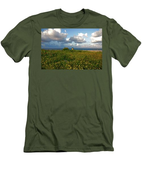 Men's T-Shirt (Slim Fit) featuring the photograph 8- Sunflowers In Paradise by Joseph Keane