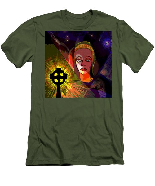 Men's T-Shirt (Slim Fit) featuring the digital art 863 - A Celtic Cross by Irmgard Schoendorf Welch
