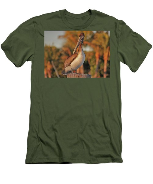 Men's T-Shirt (Slim Fit) featuring the photograph 9- Brown Pelican by Joseph Keane