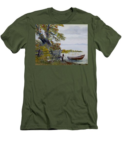 Men's T-Shirt (Slim Fit) featuring the painting A Boat Waiting by Marilyn  McNish