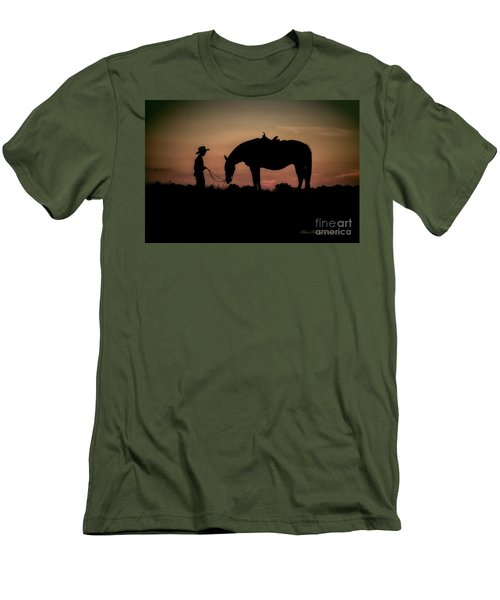 Men's T-Shirt (Slim Fit) featuring the photograph A Boy And His Horse by Linda Blair