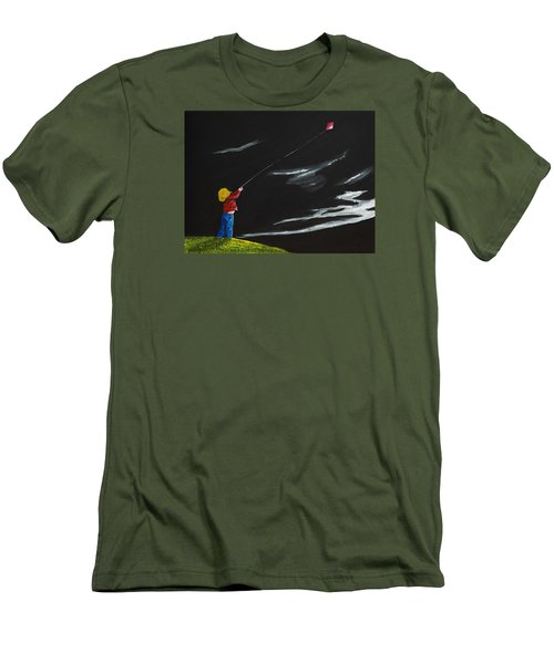 Men's T-Shirt (Slim Fit) featuring the painting A Braw Night For Flight by Scott Wilmot