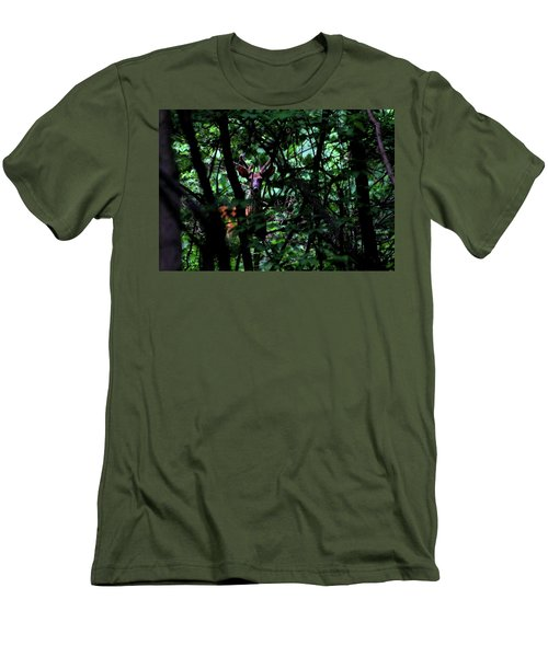 Men's T-Shirt (Slim Fit) featuring the photograph A Buck Peers From The Woods by Bruce Patrick Smith