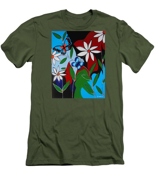 Men's T-Shirt (Slim Fit) featuring the painting A Butterflies Paradise by Kathleen Sartoris