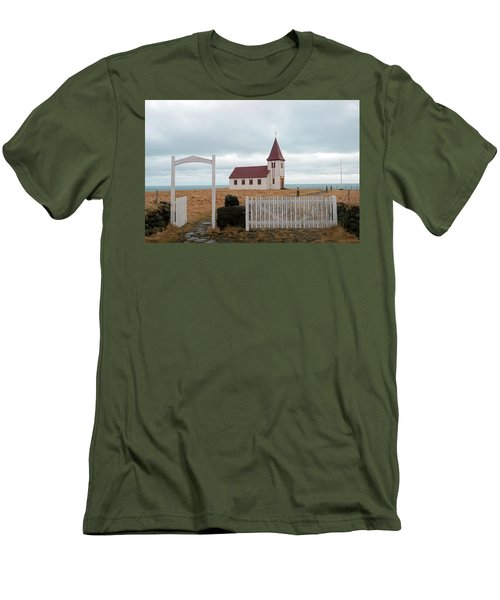 Men's T-Shirt (Athletic Fit) featuring the photograph A Church With No Fence by Dubi Roman