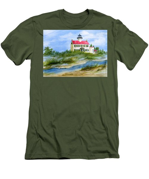 A Clear Day At East Point Lighthouse Men's T-Shirt (Slim Fit) by Nancy Patterson