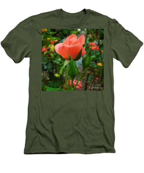 Men's T-Shirt (Slim Fit) featuring the photograph A Delicate Pink Rose by Chad and Stacey Hall