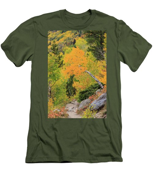 Men's T-Shirt (Slim Fit) featuring the photograph Yellow Drop by David Chandler