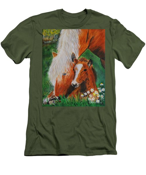 Men's T-Shirt (Slim Fit) featuring the painting A Mothers Love by Leslie Allen