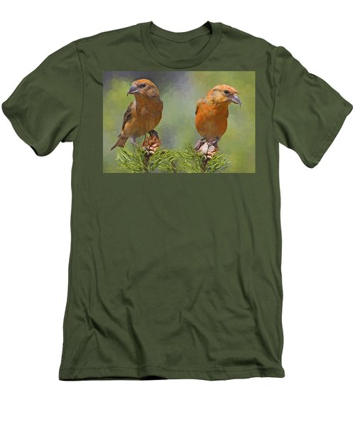 A Pair Of Male Red Crossbills - Painted Men's T-Shirt (Athletic Fit)