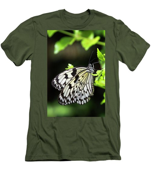 Men's T-Shirt (Athletic Fit) featuring the photograph A Paper Kite Butterfly On A Leaf  by Saija Lehtonen