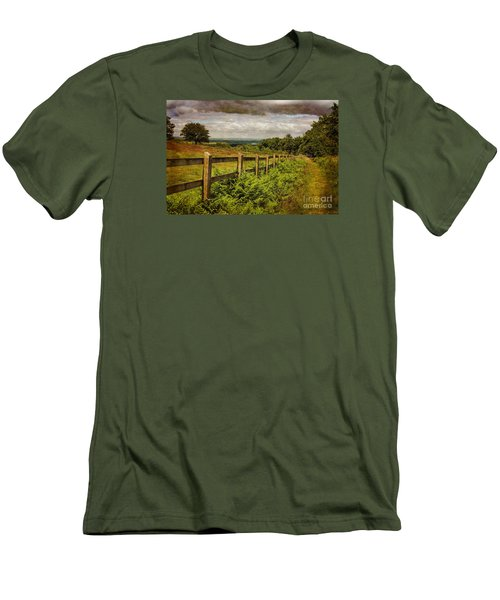 Men's T-Shirt (Slim Fit) featuring the photograph A Path From  A Hill by Linsey Williams