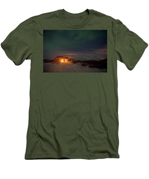 Men's T-Shirt (Athletic Fit) featuring the photograph A Place For The Night, South Of Iceland by Dubi Roman