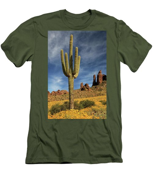 Men's T-Shirt (Athletic Fit) featuring the photograph A Saguaro In Spring by James Eddy