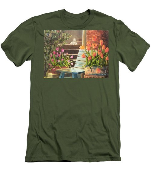 Men's T-Shirt (Slim Fit) featuring the painting A Special Place by Renate Nadi Wesley