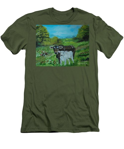 Men's T-Shirt (Slim Fit) featuring the painting A Tender Love by Leslie Allen