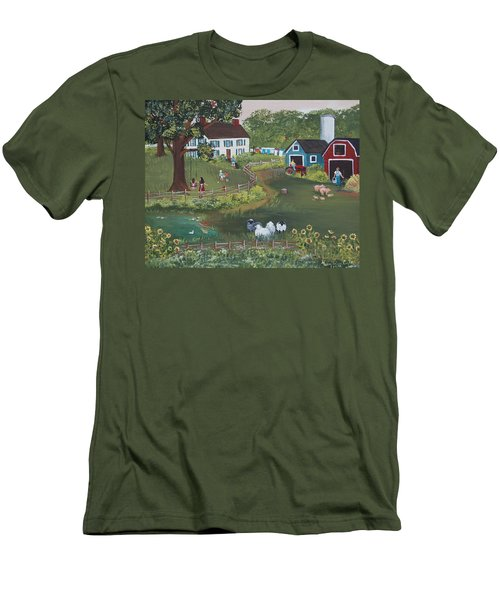 Men's T-Shirt (Slim Fit) featuring the painting A Time To Play by Virginia Coyle