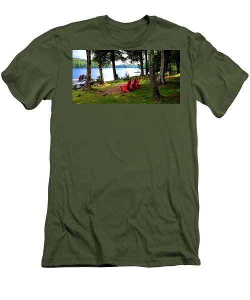 Men's T-Shirt (Athletic Fit) featuring the photograph A View Of Big Moose Lake by David Patterson