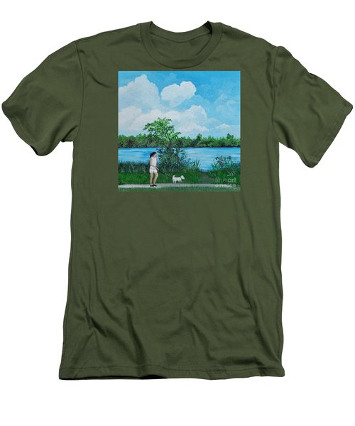 A Walk Along The River Men's T-Shirt (Slim Fit) by Reb Frost