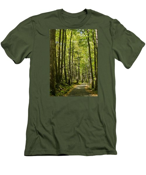 Men's T-Shirt (Slim Fit) featuring the photograph A Woodsy Trail by Wanda Krack