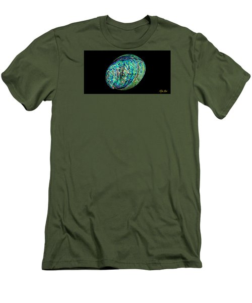 Abalone On Black Men's T-Shirt (Slim Fit) by Rikk Flohr