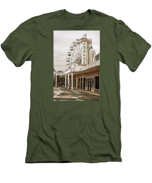 Men's T-Shirt (Slim Fit) featuring the photograph Abandoned Arcade And Ferris Wheel by Andy Crawford