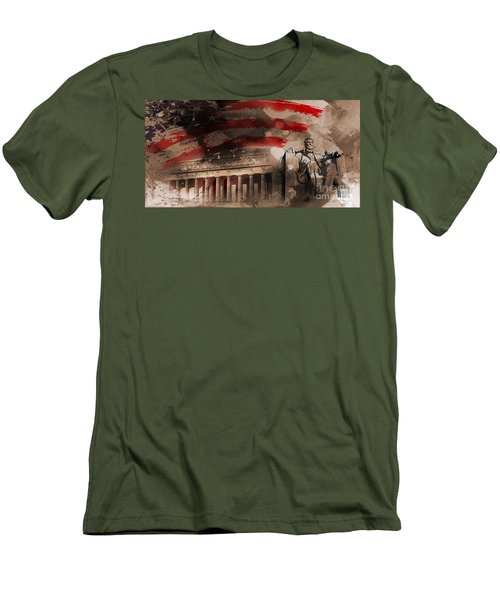 Men's T-Shirt (Slim Fit) featuring the painting Abraham Lincoln by Gull G