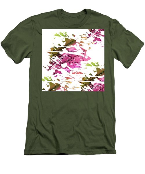 Abstract Acrylic Painting Broken Glass Purple And Green Men's T-Shirt (Slim Fit) by Saribelle Rodriguez