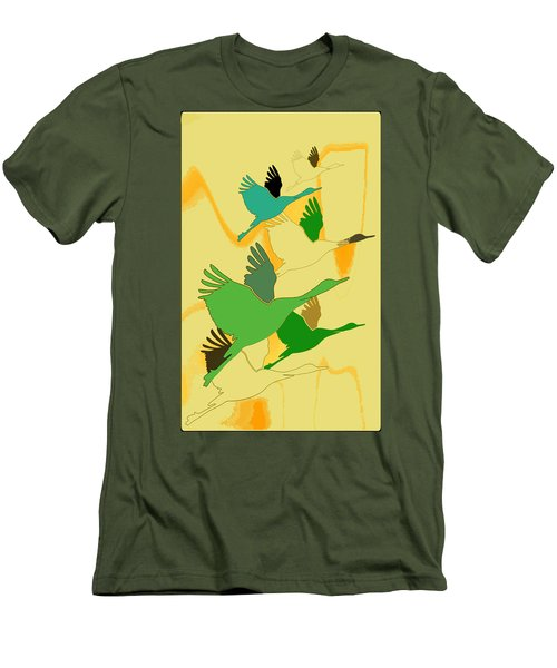 Abstract Cranes Men's T-Shirt (Athletic Fit)