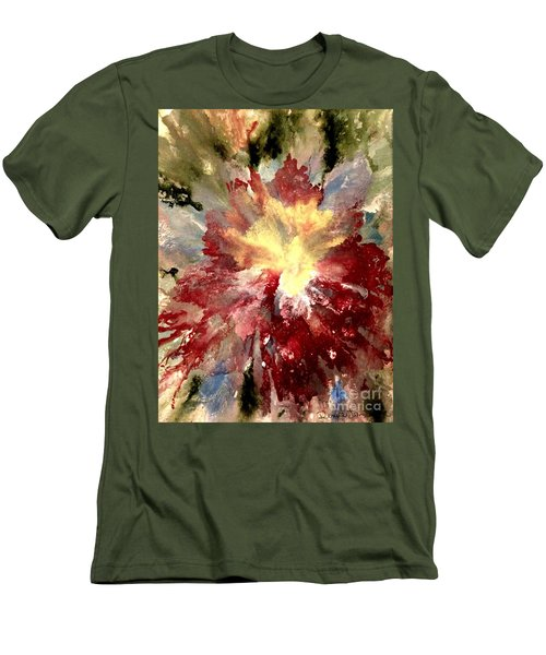 Men's T-Shirt (Athletic Fit) featuring the painting Abstract Flower by Denise Tomasura