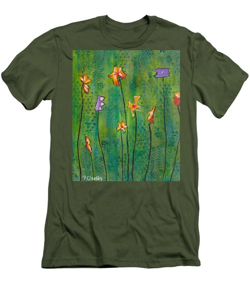 Abstract Flowers Orange, Purple Men's T-Shirt (Slim Fit) by Patricia Cleasby