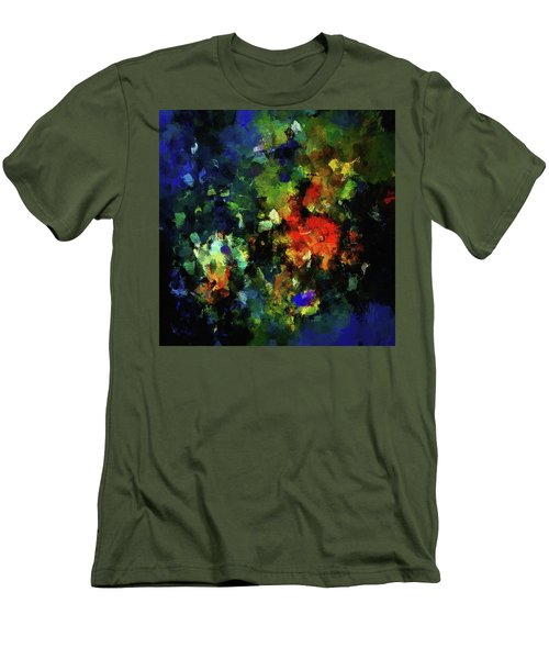 Men's T-Shirt (Slim Fit) featuring the painting Abstract Painting In Dark Blue Tones by Ayse Deniz