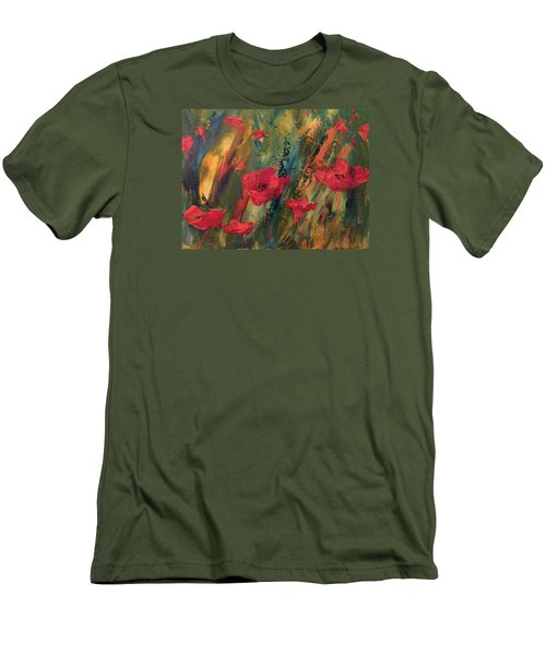 Men's T-Shirt (Slim Fit) featuring the painting Abstract Poppies by Kristine Bogdanovich