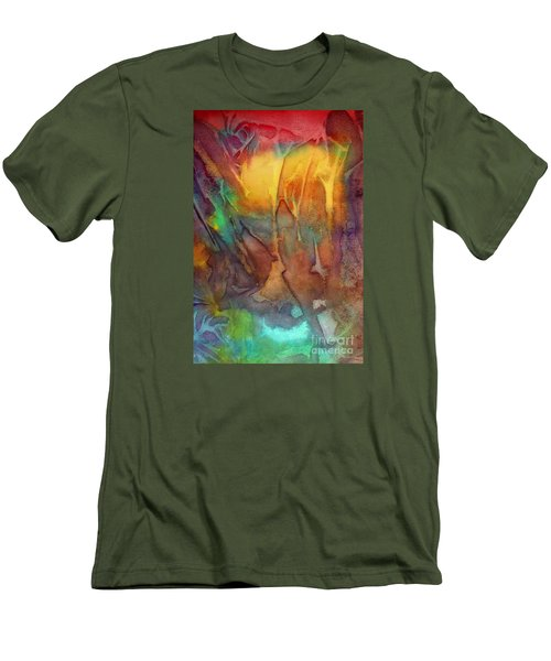 Men's T-Shirt (Slim Fit) featuring the painting Abstract Reflection by Allison Ashton