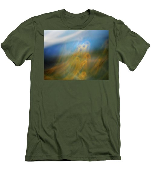 Men's T-Shirt (Slim Fit) featuring the photograph Abstract Sunflowers by Marilyn Hunt