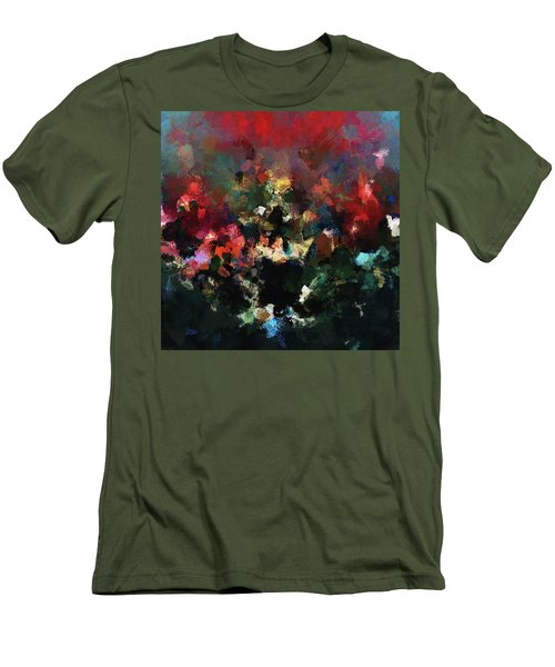 Men's T-Shirt (Slim Fit) featuring the painting Abstract Wall Art In Dark Colors by Ayse Deniz