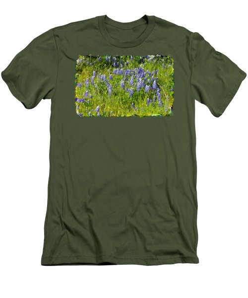 Abundance Of Blue Bonnets Men's T-Shirt (Slim Fit) by Linda Phelps